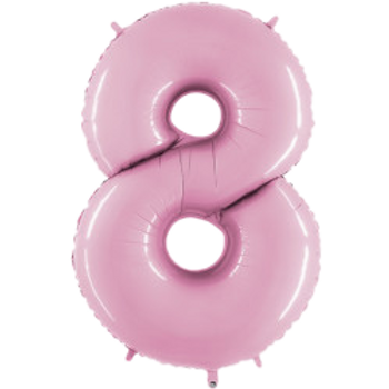 """Light Pink 40"""" Foil Number 8 Balloon Helium Filled"""