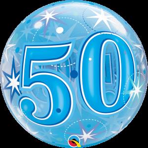 50 Blue Starburst Sparkle Bubble