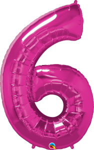 """Pink 34"""" Foil Number 6 Balloon"""