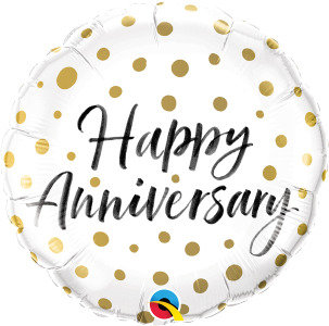 "Happy Anniversary Gold Dots 18"" Foil Balloon"