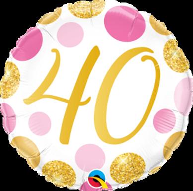 "40 Pink & Gold Dots 18"" Foil Balloon"
