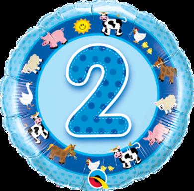 """Age 2 Blue Farm Animals 18"""" Foil Balloon"""