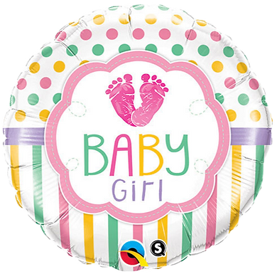 Baby Girl dots and stripes balloon