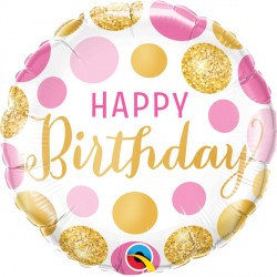 """Birthday Pink & Gold Dots 18"""" Foil Balloon Helium Filled"""