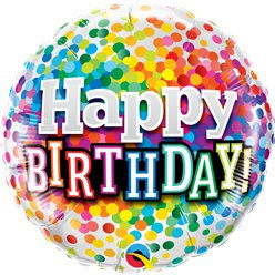 "Birthday Rainbow Confetti 18"" Foil Balloon"