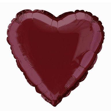 Burgundy 18 inch Foil Heart Balloon