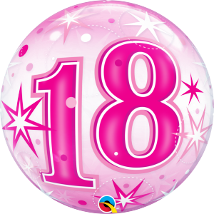 18 Pink Starburst Sparkle Bubble