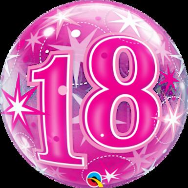 18 Pink Starburst Sparkle Bubble