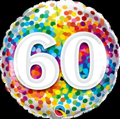 """60 Rainbow Confetti 18"""" Foil"""