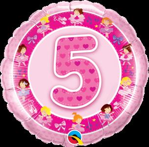 """Age 5 Pink Ballerina's 18"""" Foil Balloon"""