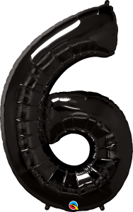 "Black 34"" Foil Number 6 Balloon Helium Filled"