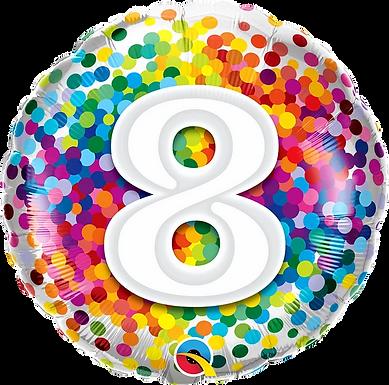 "8 Rainbow Confetti 18"" Foil Balloon"