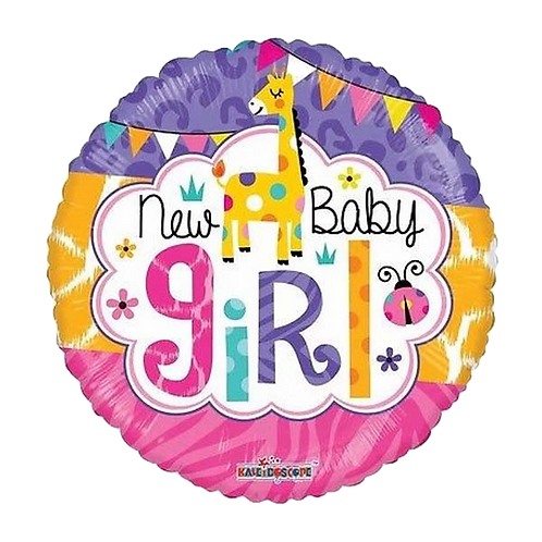 "New Baby Girl 18"" Round Foil Balloon"