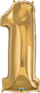 """Gold 34"""" Foil Number 1 Balloon Helium Filled"""