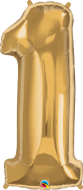 "Gold 34"" Foil Number 1 Balloon Helium Filled"