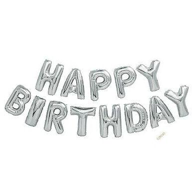 Silver Happy Birthday Balloon Kit