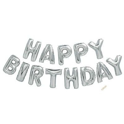 Silver Happy Birthday Balloon Kit