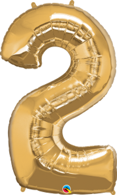 """Gold 34"""" Foil Number 2 Balloon Helium Filled"""