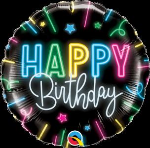 "Happy Birthday Neon Glow 18"" Foil Balloon"