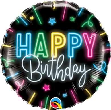 "Happy Birthday Neon Glow 18"" Foil Balloon"