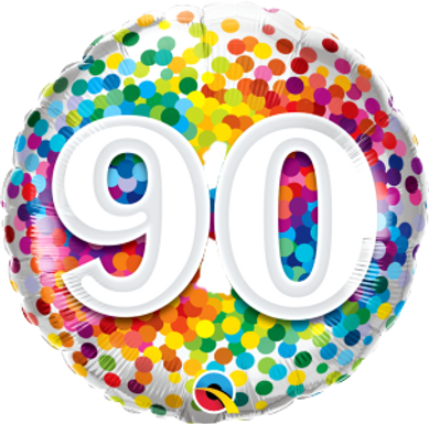 "90 Rainbow Confetti 18"" Foil Balloon"