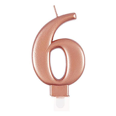 Rose Gold Number 6 Candle