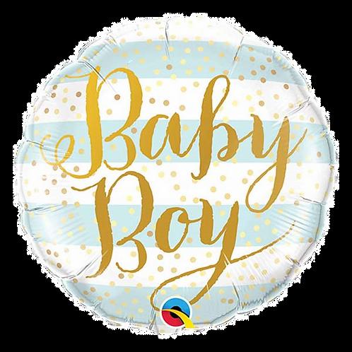 """Baby Boy Stripes 18"""" Round Foil Balloon"""