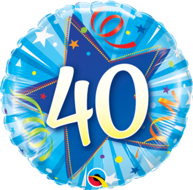"40 Shining Star Bright Blue 18"" Foil Balloon"