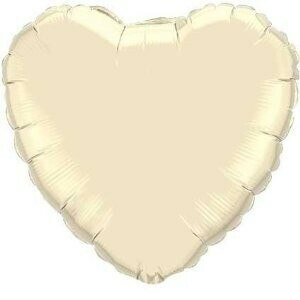 Ivory 18 inch Heart Foil Balloon