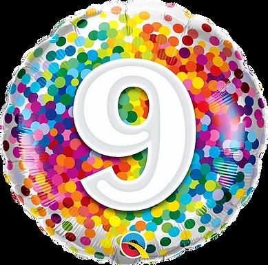 "9 Rainbow Confetti 18"" Foil Balloon"