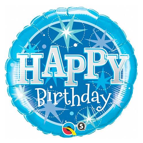Happy Birthday Blue Sparkle Balloon