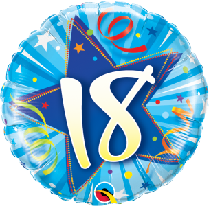 "18 Shining Star Bright Blue 18"" Foil Balloon"