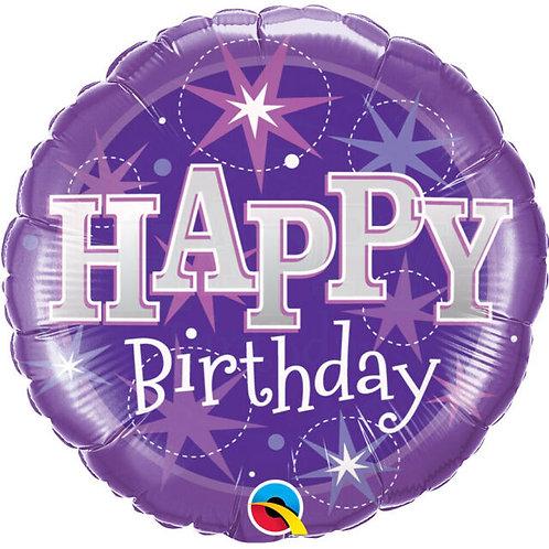 "Birthday Purple Sparkle 18"" Foil Balloon"