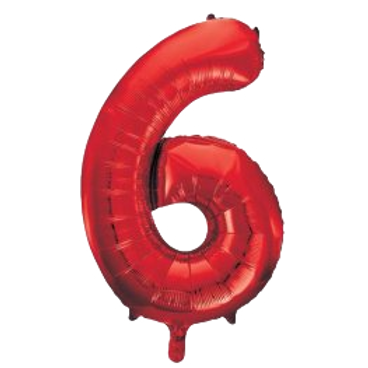 """Red 34"""" Foil Number 6 Balloon Helium Filled"""