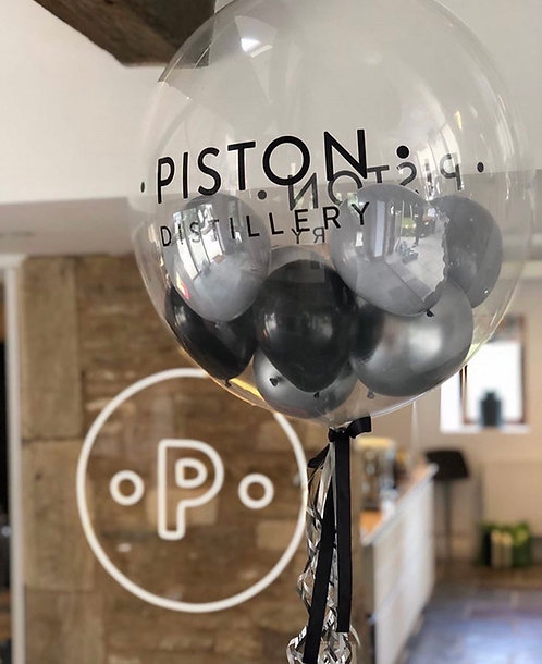 Personalised Black and Silver Gumball Bubble Balloon