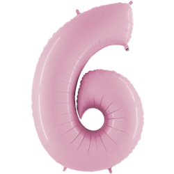 """Light Pink 40"""" Foil Number 6 Balloon Helium Filled"""