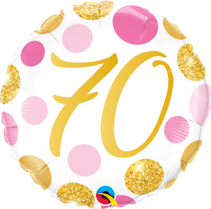 "70 Pink & Gold Dots 18"" Foil Balloon"