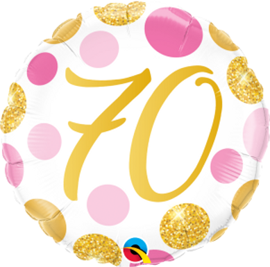 "70 Pink & Gold Dots 18"" Foil Balloon"