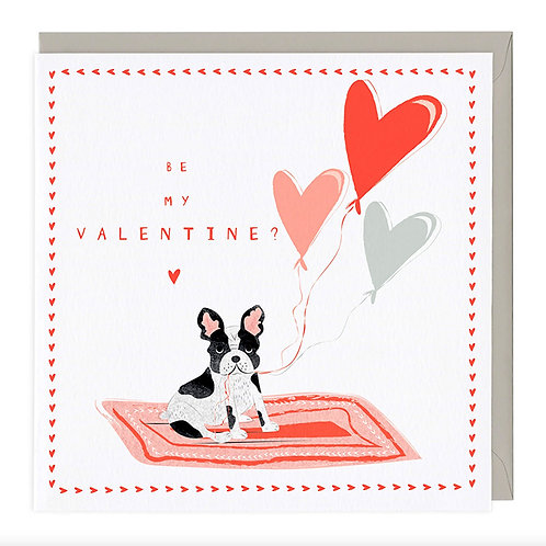 Be My Valentine French Bull Dog Card