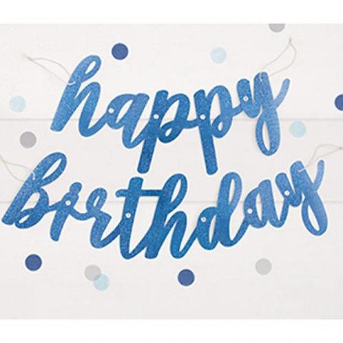 Blue Happy Birthday String Banner