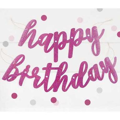 Hot Pink Happy Birthday String Banner