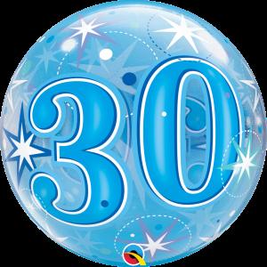 30 Blue Starburst Sparkle Bubble