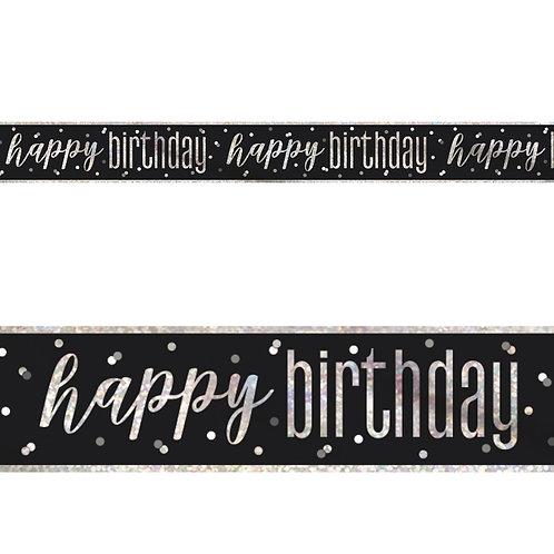 Happy Birthday Black Banner