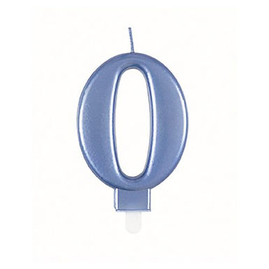 Blue Number 0 Candle