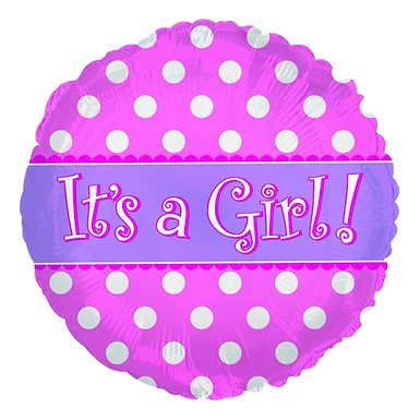 """It's A Girl Pink Dots 18"""" Round Foil Balloon"""