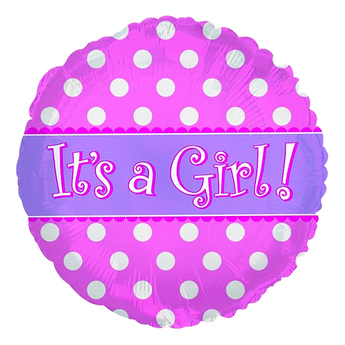 "It's A Girl Pink Dots 18"" Round Foil Balloon"