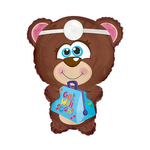 "25"" Get Well Soon Foil Bear Supershape Balloon"