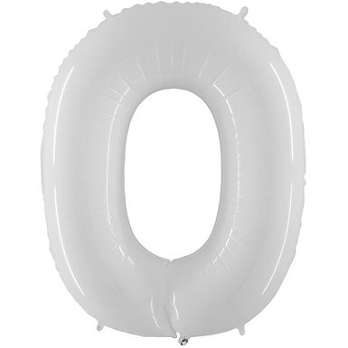 "White 40"" Number 0 Balloon Helium Filled"