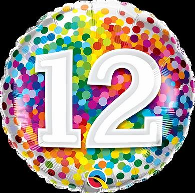 "12 Rainbow Confetti 18"" Foil Balloon"