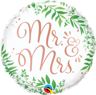 "Mr & Mrs Elegant Greenery 18"" Foil Balloon"